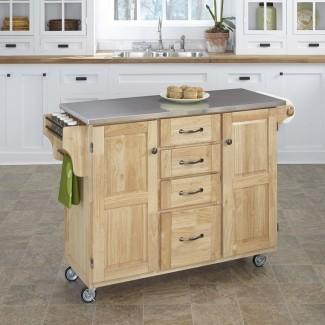 Adelle-a-Cart Kitchen Island con tapa de acero inoxidable