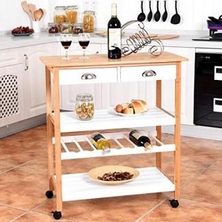 Carro de carrito de cocina con ruedas de bambú Storage Island Utility con cajones y estante