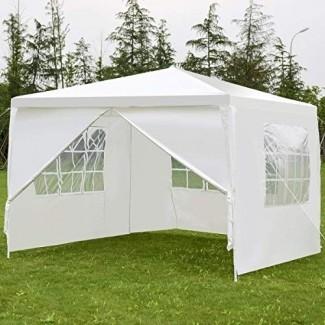 Tangkula 10'x10 'Canopy Party Wedding BBQ Carpa para trabajo pesado Gazebo Shelter Shelter Pavilion Cater Evento al aire libre con lateral Paredes