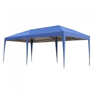 Outsunny Easy Pop Up Canopy Party Tent, 10 x 20 pies, azul real