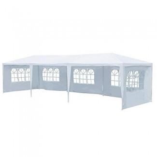 Yaheetech 10'x30 'Heavy Duty Outdoor Canopy Party Wedding Carpa Camping Gazebo Almacenamiento BBQ Shelter Pavilion 5 Paredes laterales extraíbles blanco