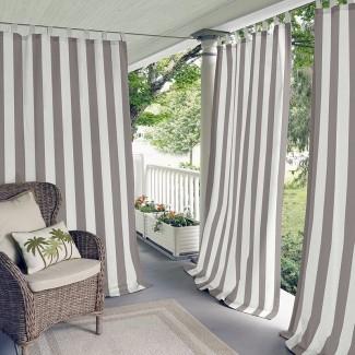 Berklee Panel de cortina individual superior con filtro de luz de rayas a rayas para exteriores