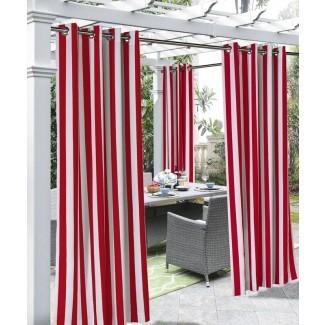 Panel de cortina simple de ojal a rayas semi-transparente para exteriores Gonzalo Decor
