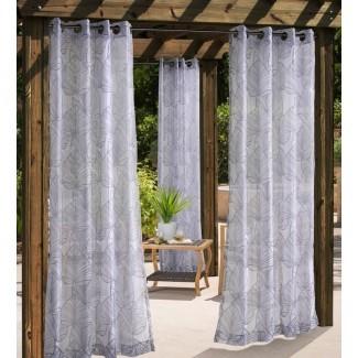 Panel de cortina simple de ojal para exteriores Bolton Leaf Nature Sheer