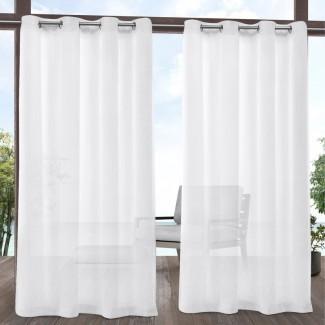 Paneles de cortina de ojal para interiores / exteriores transparentes de color sólido Hagy (juego de 2)
