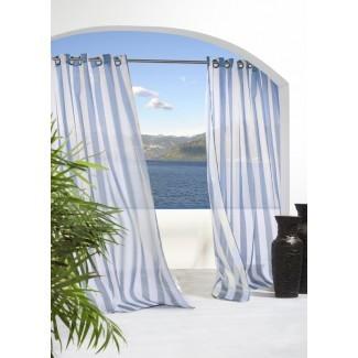 Odessa Panel de cortina simple con ojal a rayas transparentes para exteriores
