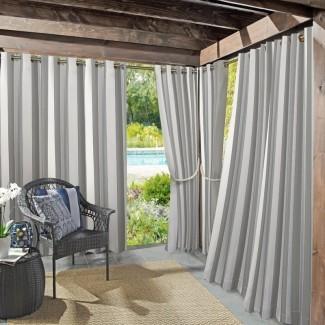 Valencia Protector UV UV Cabana Stripe Grommet Panel de cortina simple