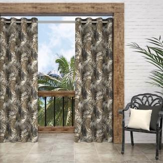 Fairview Nature / Floral Panel de cortina simple de arandela exterior semi-transparente