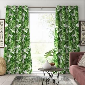 Allyson 3M Scotchguard Nature / Floral Semi-Sheer Panel de cortina exterior con exterior