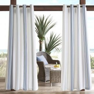 Panel de cortina individual de exterior a rayas filtrante Corbin