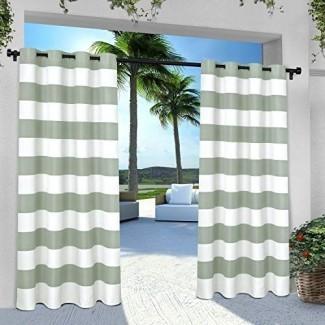 Exclusivo par de cortinas para ventana de interior / exterior a rayas para cabaña con tapa de ojal