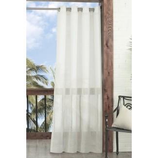 Summerland Key Solid Sheer Panel de cortina simple de exterior ojal