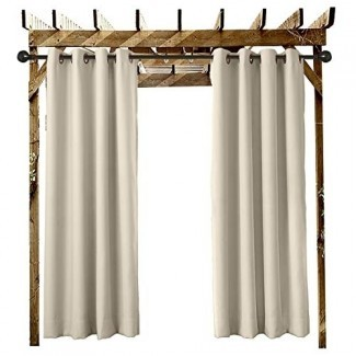 """ChadMade Outdoor Curtain Beige 100 """"W x 84 """"L Ojal de ojal en el porche delantero Pérgola Cabaña Patio cubierto Gazebo Muelle y casa de playa (1 panel)"""