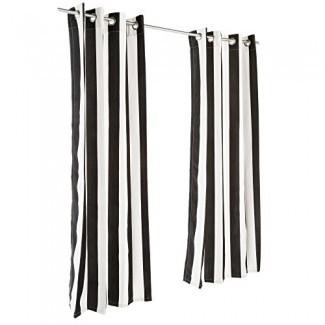 Pawleys Island Cabana Black Sunbrella Grommeted Outdoor Curtain