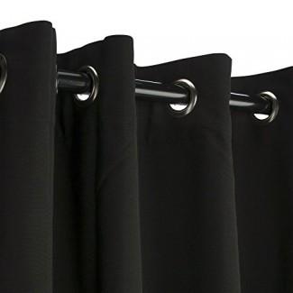 """Cortina de exterior Sunbrella con arandelas - Arandelas de níquel - Negro 50x84 """""""