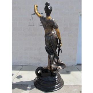 Estatua de Lady Justice,10.6 H Resina con los ojos vendados Estatua de Lady Justice,con base antideslizante y espada,utilizada para la decoraci/ón de escritorio de la diosa romana de oficina y familia