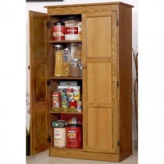 Gabinetes de almacenamiento de madera altos con puertas - Diseños de almacenamiento