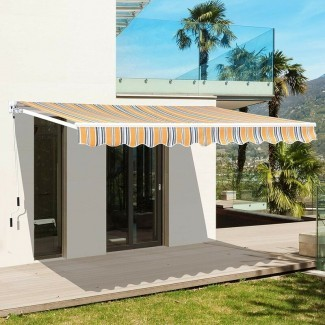 Toldo de sol manual para patio retráctil de 8 'x 7'