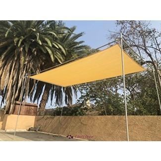 Eden's Decor Solar-Rectangular de borde plano con protección UV Sun Shade Sail para patio exterior, piscina y cubierta de pérgola