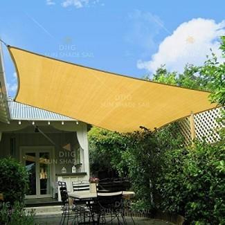 diig Sun Shade Sail Rectangle 8 'x 10', 95% UV Block 185 g / m² Tela de sombra resistente, a prueba de sol a prueba de viento Toldo de sombrilla durante 3 años usado al aire libre, color arena