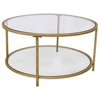 "Ravenna Home Parker Circle Shelf Storage Mesa de centro, 31.5 ""An., Vidrio y oro"