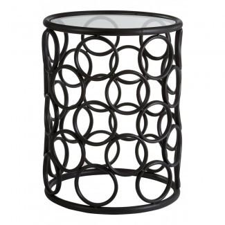 Compre Black Metal Circles Side Table con tapa de cristal de