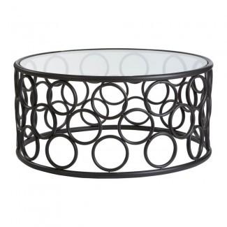 Comprar Mesa de centro de círculos de metal negro con tapa de vidrio de