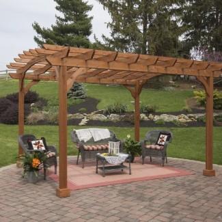 Cedar 12 Ft. Ancho x 10 pies D Pérgola de madera maciza