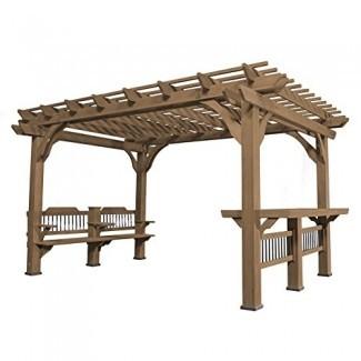 Oasis de descubrimiento de patio trasero Pérgola de cedro de 14 x 10 Pérgola de cedro de descubrimiento