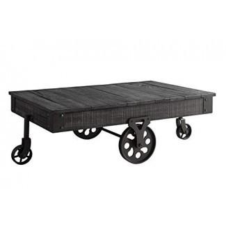 Mesa de centro de madera con ruedas de metal - gris