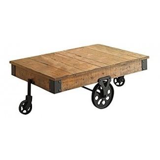 Coaster Furniture Mesa de centro de madera con ruedas