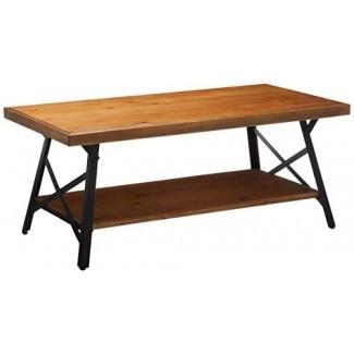 Harper & Bright Designs Mesa de café de madera maciza Pata de metal