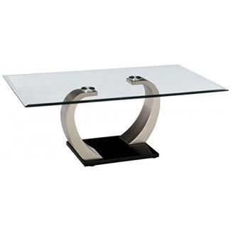 Coaster Muebles Mesa de centro moderna con tapa de vidrio