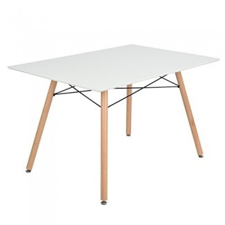 Mesa de comedor GreenForest Mesa rectangular con patas de madera Moderna Mesa de centro de ocio 44 '' x 28 '' tamaño compacto blanco