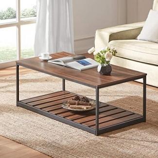 DYH Mesa de centro rústica para Sala de estar, mesa de cóctel industrial de madera y metal con repisa inferior con tablillas, marrón