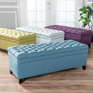 GDF Studio Laguna Muebles para sala de estar Otomana de almacenamiento con mechones
