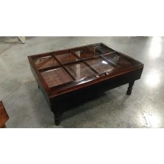 Mesa de centro con caja de sombra con tapa de cristal - Rascalartsnyc