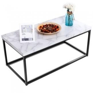 Mesa de centro de cóctel moderna rectangular blanca Marco de metal Decoración de muebles de sala de estar