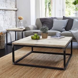 mesa de centro de madera recuperada con marco de caja de acero crudo por