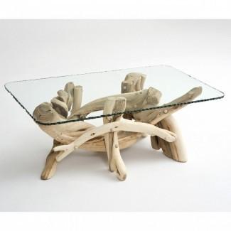 Mesa de centro rústica de madera flotante