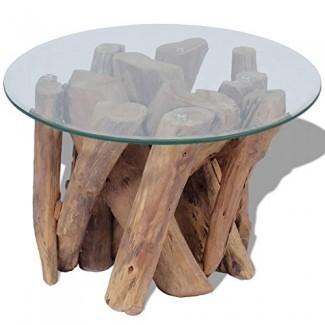 Mesa de centro de mesa de café de madera de teca maciza totalmente hecha a mano