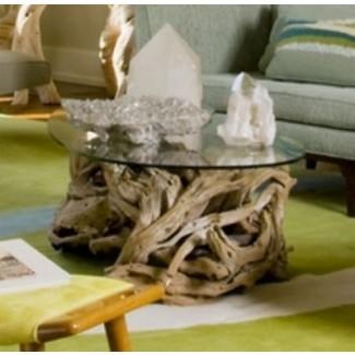 Mesa de centro de madera de teca costera de diseño inteligente   Ocean Beach Glass Top