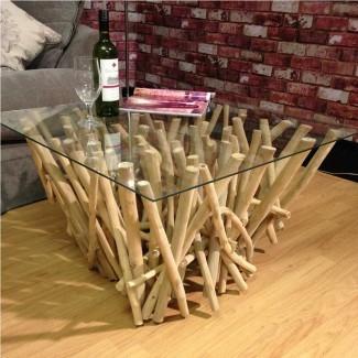 Mesas de café: café rústico cuadrado de madera flotante ...