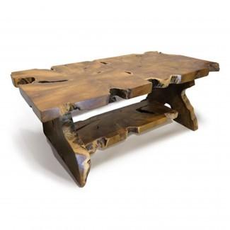 Mesa de centro de madera flotante Teca Root rectangular con repisa ...