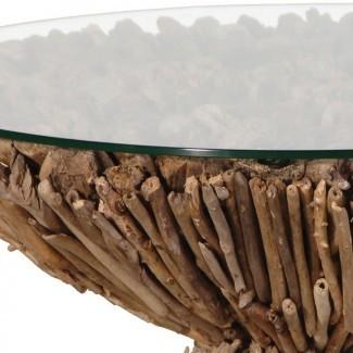Mesa de centro circular de madera flotante
