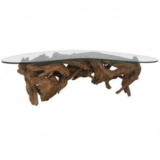 Mesa de centro de madera flotante en 1stdibs