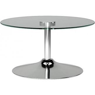 INSPIRE Q Lorin Cool Round Mesa de centro de vidrio - Mesa de cóctel - Mesa moderna de acento LED