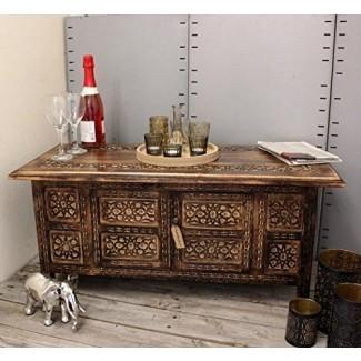 Palini Rectangle Coffee Table Compartimiento de almacenamiento de talla de estilo marroquí 91cm