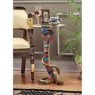 Mesa auxiliar de diseño de toscano Renenutet Egipcia Cobra serpiente Diosa, 24 pulgadas, Polyresin con tapa de vidrio,