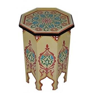 Mesa de madera hecha a mano marroquí, lado, delicado, pintado a mano, exquisito, beige